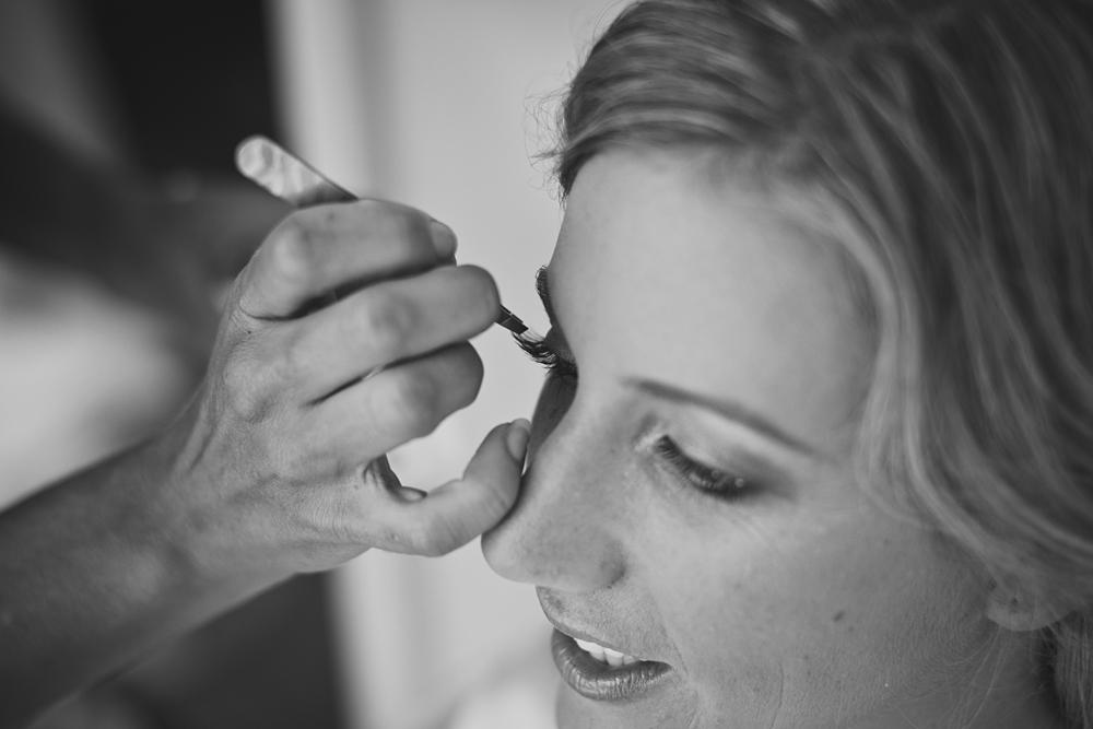 close-up of me putting eyelashes on Kirsten