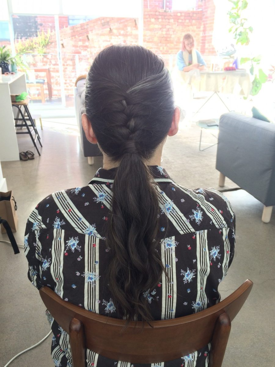 Beautiful simple low ponytail with braid & curls for Anna, mother of the bride