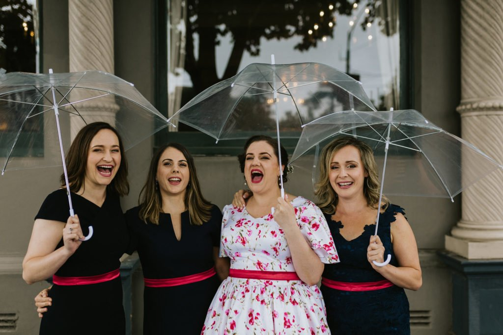 Liz & her bridesmaids, image by Gold and Grit, makeup by Inèz