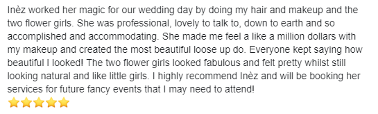 Chiara's review on my facebook page