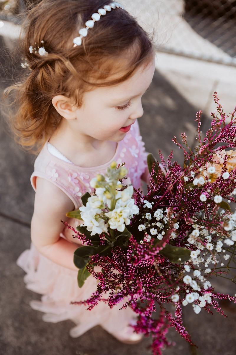Chiara & Adrian's daughter & flowergirl Henrietta, hair by me, flowers DIY by Chiara
